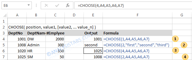CHOOSE Function in Excel- Example